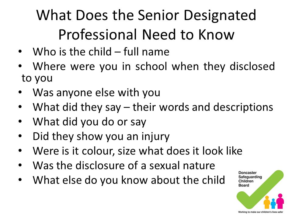 What Does the Senior Designated Professional Need to Know