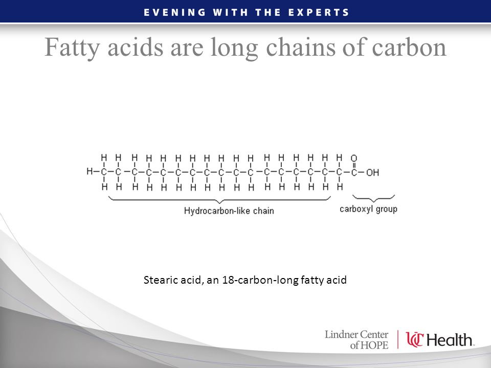Fatty acids are long chains of carbon