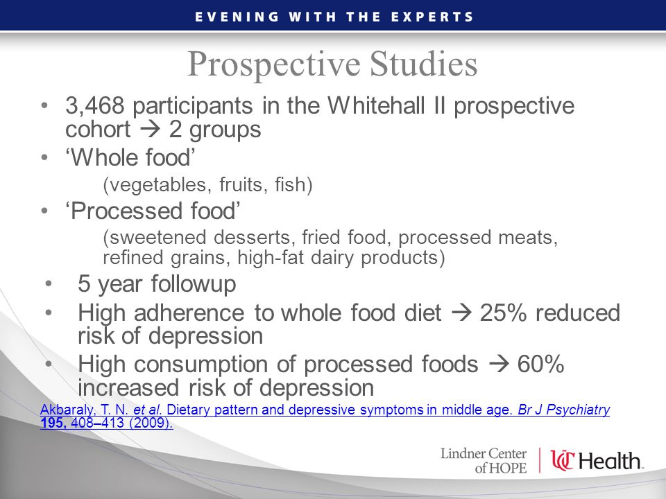 Prospective Studies 3,468 participants in the Whitehall II prospective cohort  2 groups. 'Whole food'