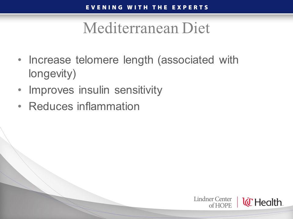 Mediterranean Diet Increase telomere length (associated with longevity) Improves insulin sensitivity.