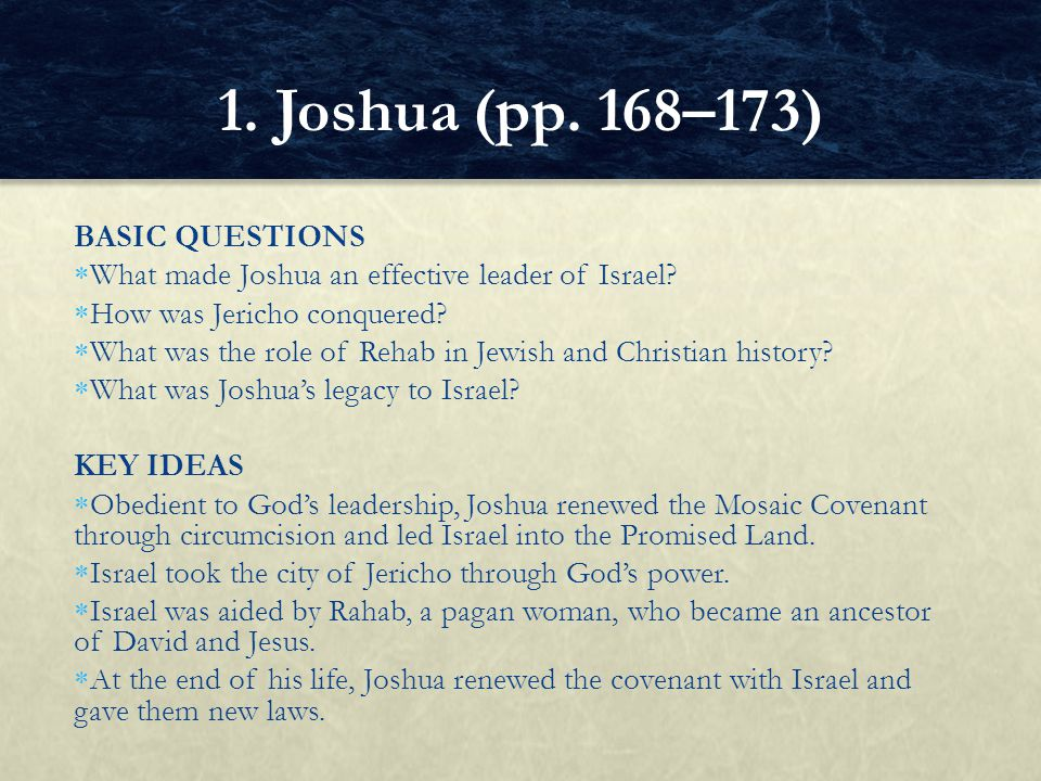 1. Joshua (pp. 168–173) BASIC QUESTIONS