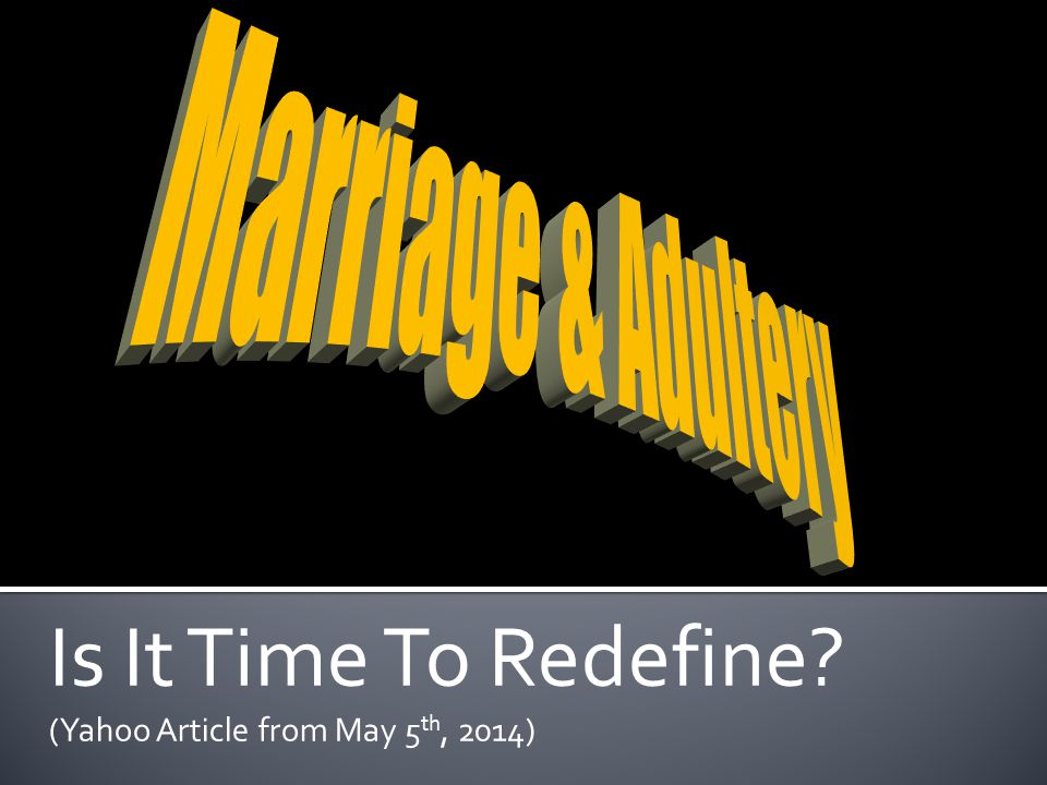 Is It Time To Redefine (Yahoo Article from May 5th, 2014)