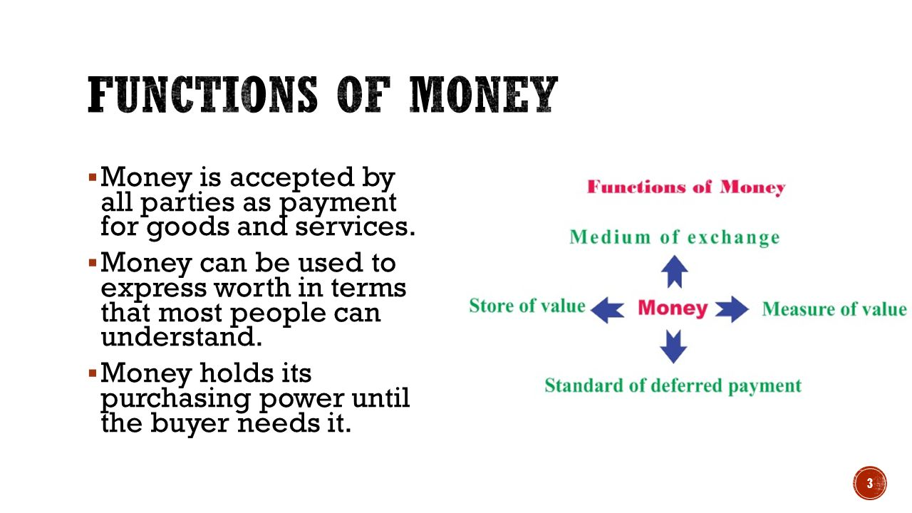 Functions of Money Money is accepted by all parties as payment for goods and services.