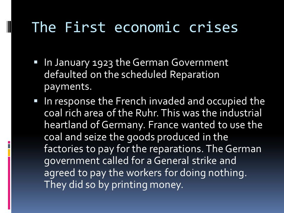 The First economic crises