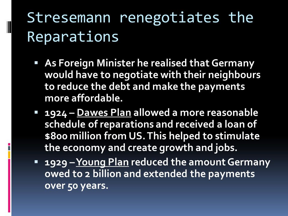 Stresemann renegotiates the Reparations