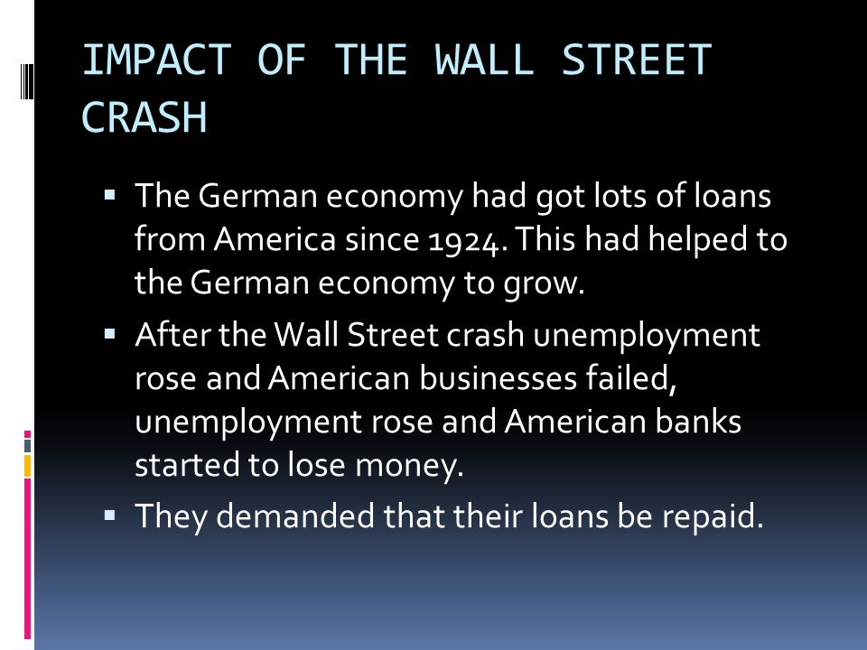 IMPACT OF THE WALL STREET CRASH