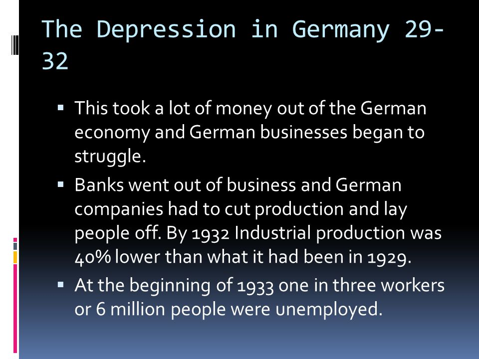 The Depression in Germany 29-32