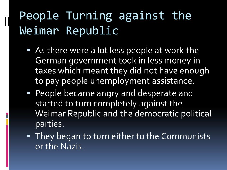 People Turning against the Weimar Republic