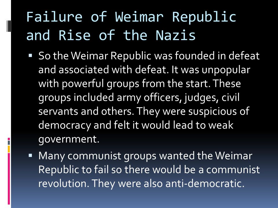 Failure of Weimar Republic and Rise of the Nazis
