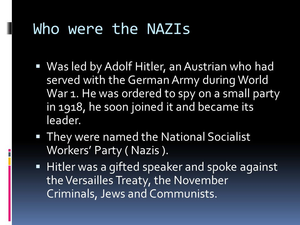 Who were the NAZIs