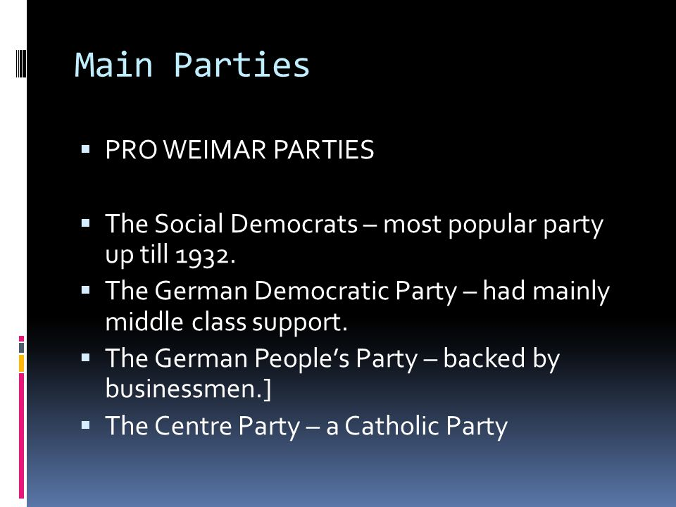 Main Parties PRO WEIMAR PARTIES