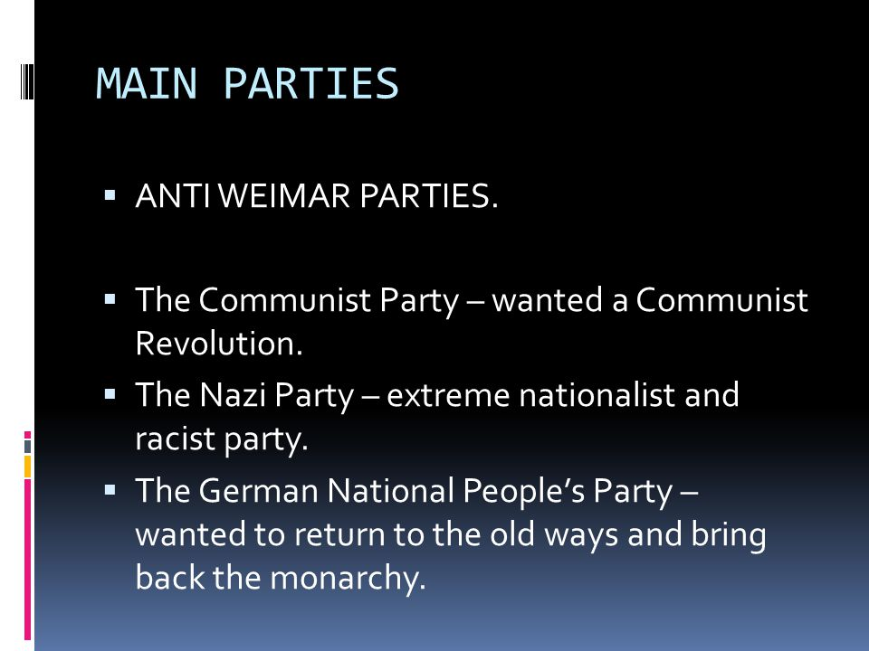 MAIN PARTIES ANTI WEIMAR PARTIES.