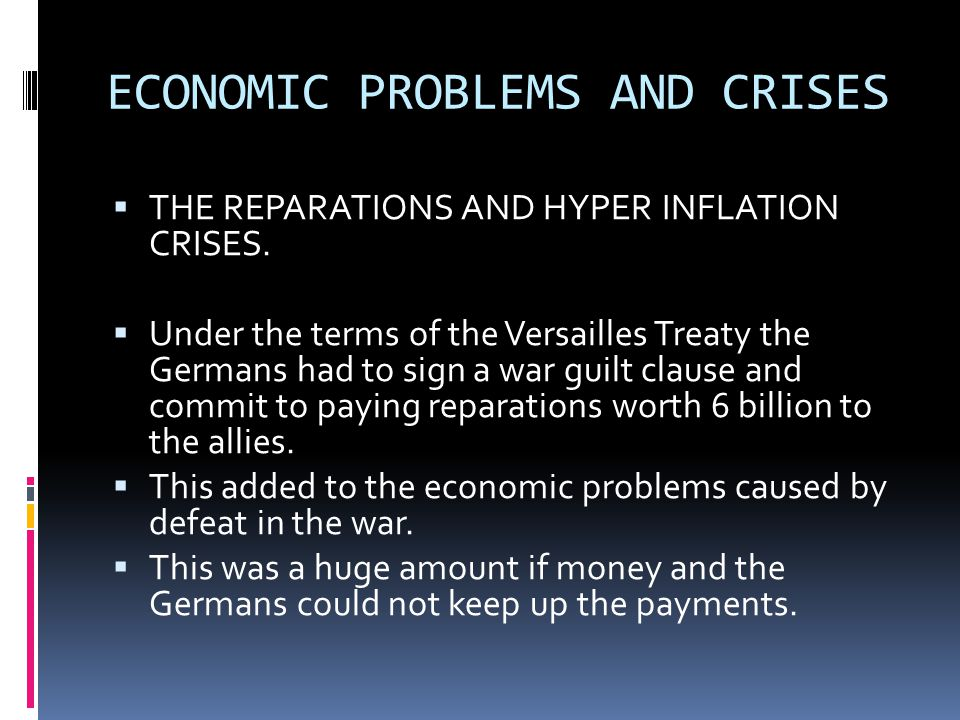 ECONOMIC PROBLEMS AND CRISES