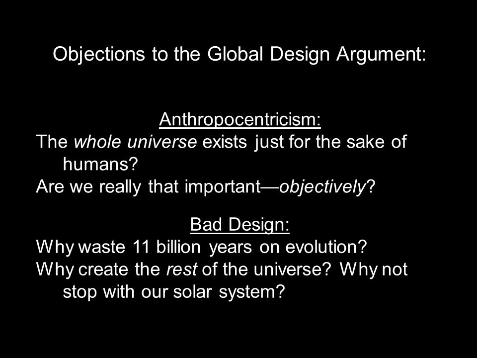 Objections to the Global Design Argument: