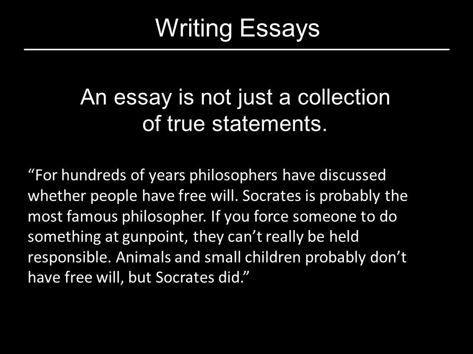 An essay is not just a collection
