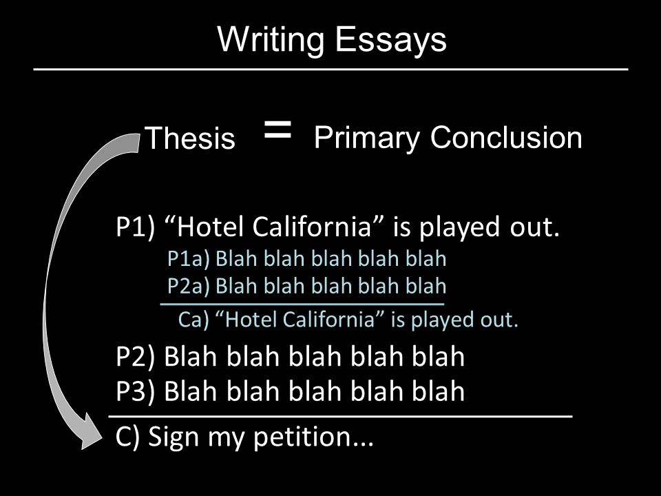 Writing Essays Thesis = Primary Conclusion