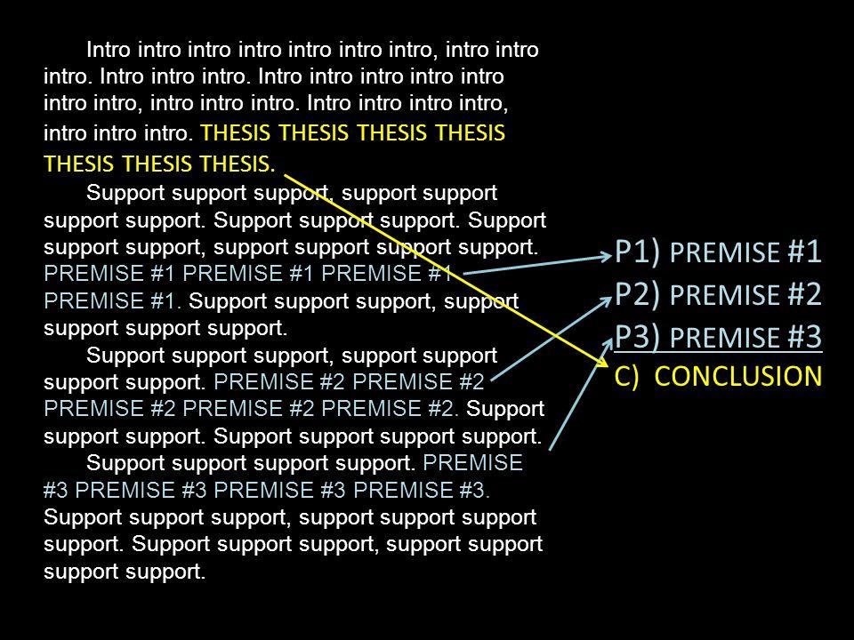 P1) PREMISE #1 P2) PREMISE #2 P3) PREMISE #3 C) CONCLUSION