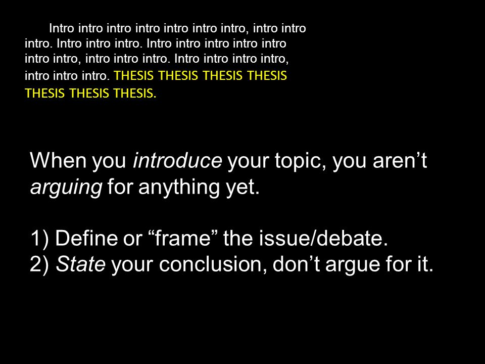 When you introduce your topic, you aren't arguing for anything yet.