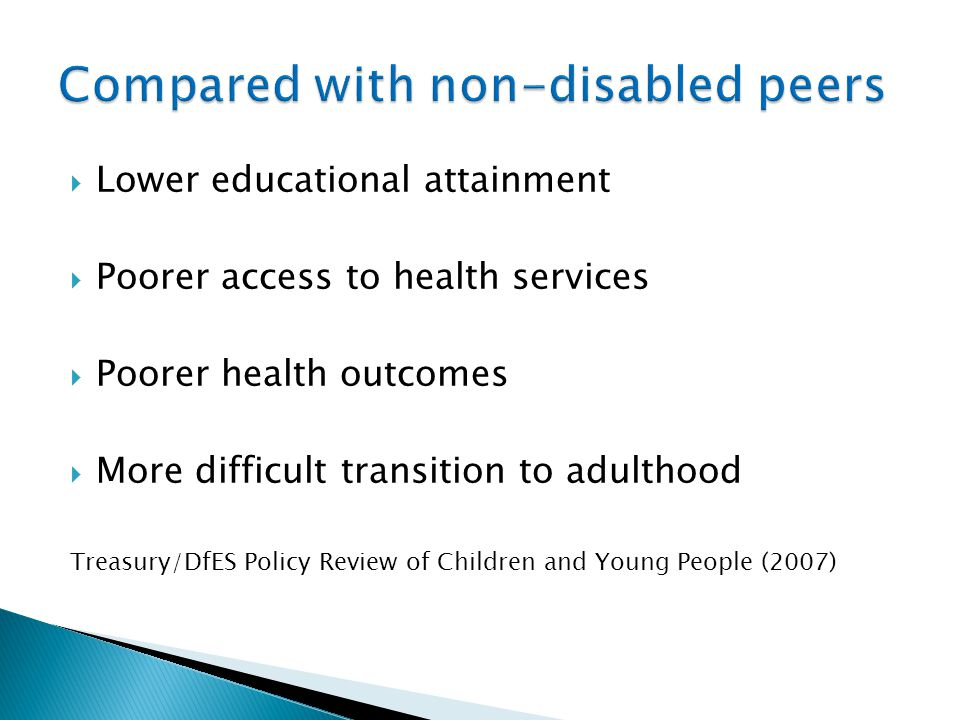 Compared with non-disabled peers