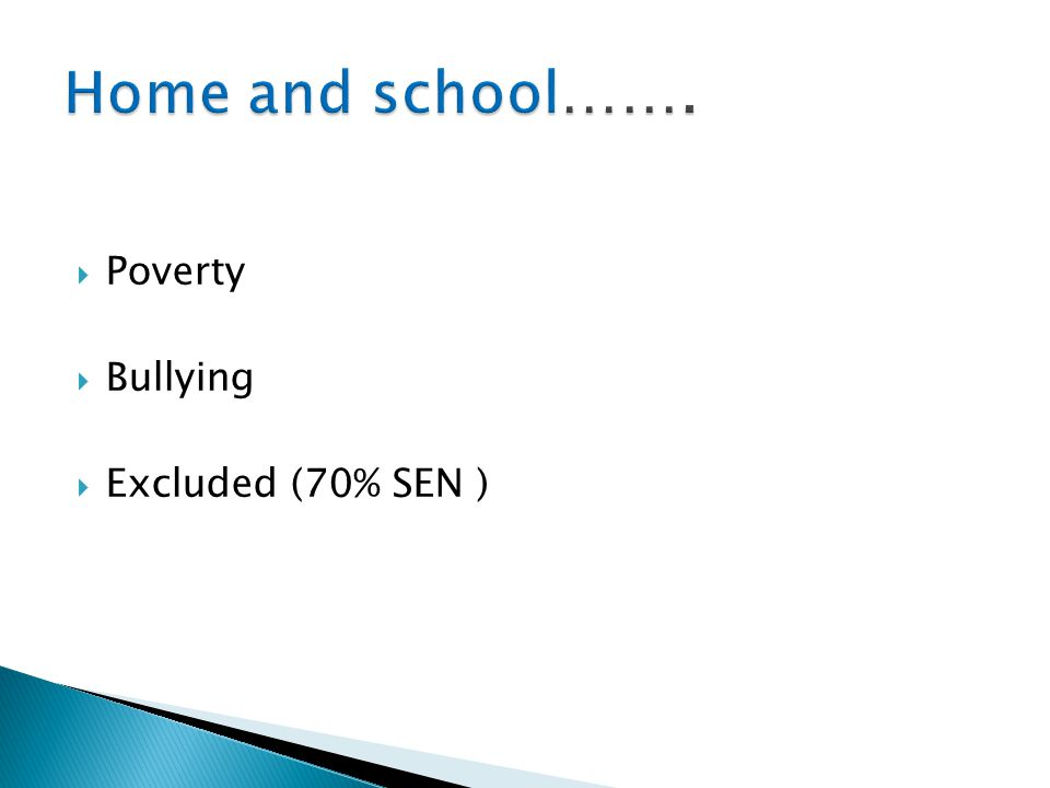 Home and school……. Poverty Bullying Excluded (70% SEN )