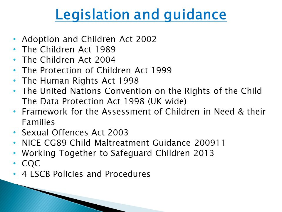 Legislation and guidance