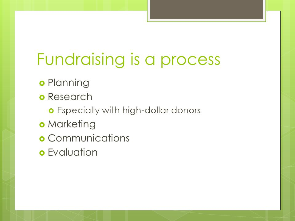 Fundraising is a process