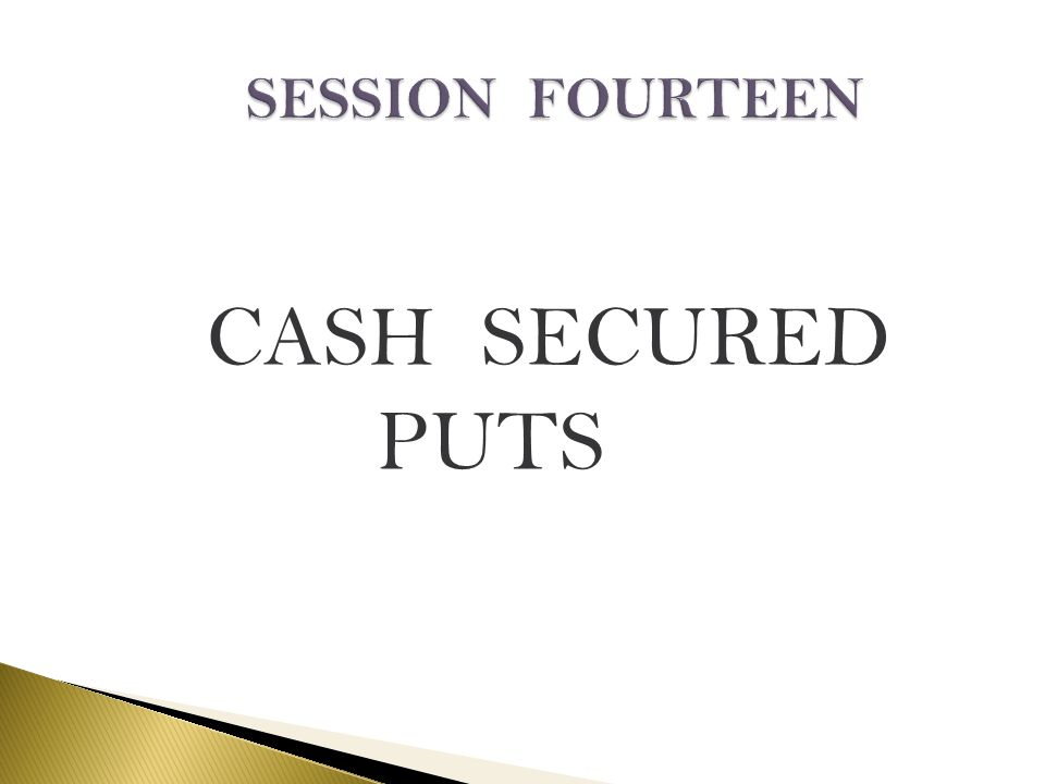 SESSION FOURTEEN CASH SECURED PUTS