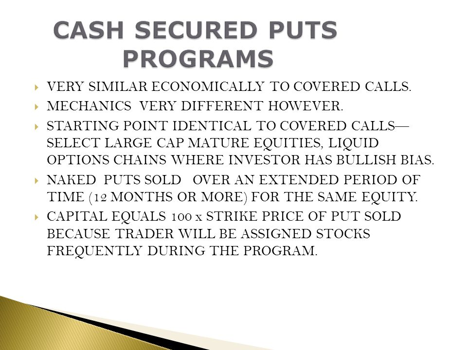 CASH SECURED PUTS PROGRAMS