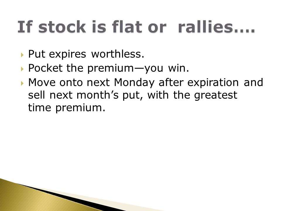 If stock is flat or rallies….
