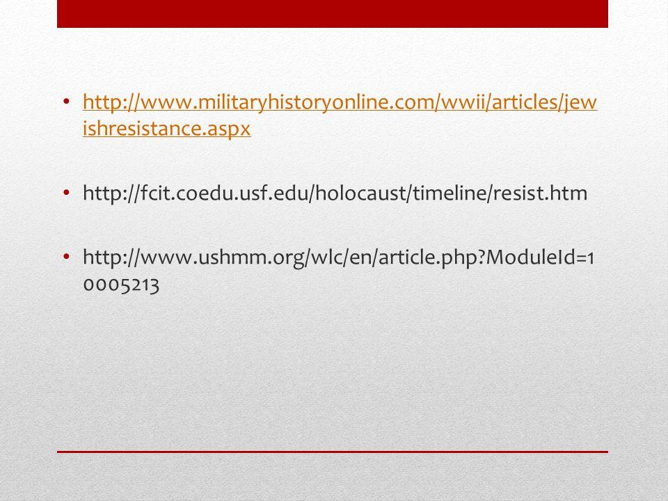 http://www. militaryhistoryonline. com/wwii/articles/jewishresistance