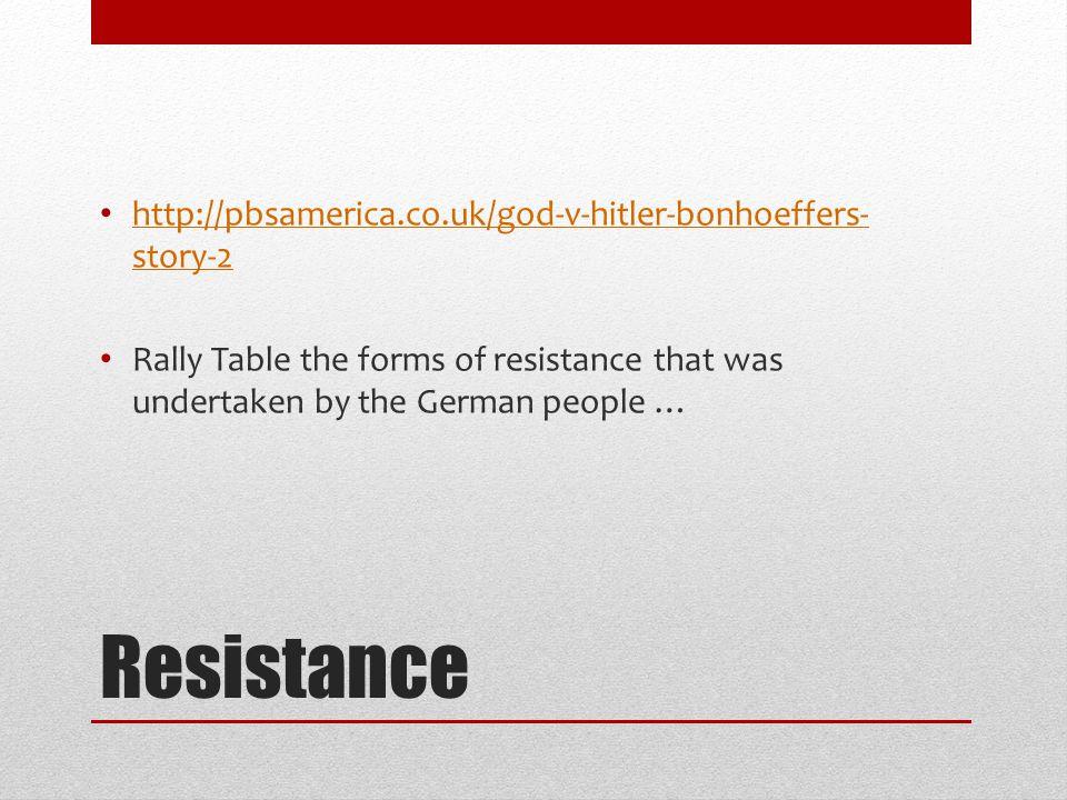 Resistance http://pbsamerica.co.uk/god-v-hitler-bonhoeffers-story-2