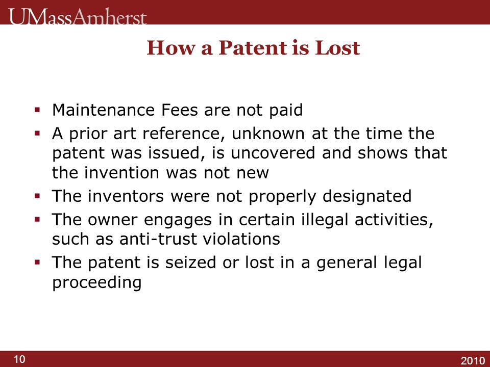 How a Patent is Lost Maintenance Fees are not paid