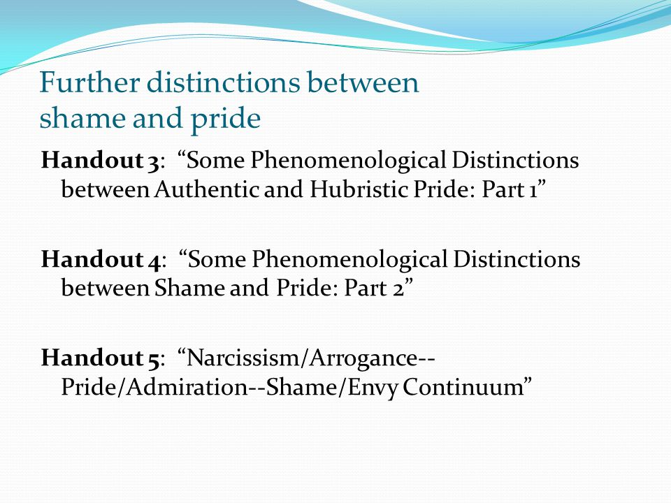 Further distinctions between shame and pride