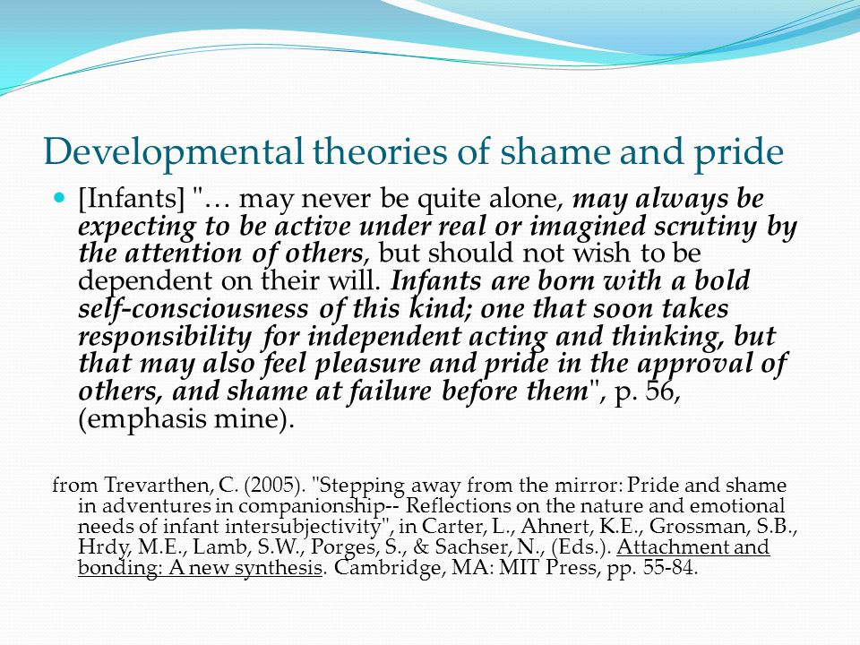 Developmental theories of shame and pride