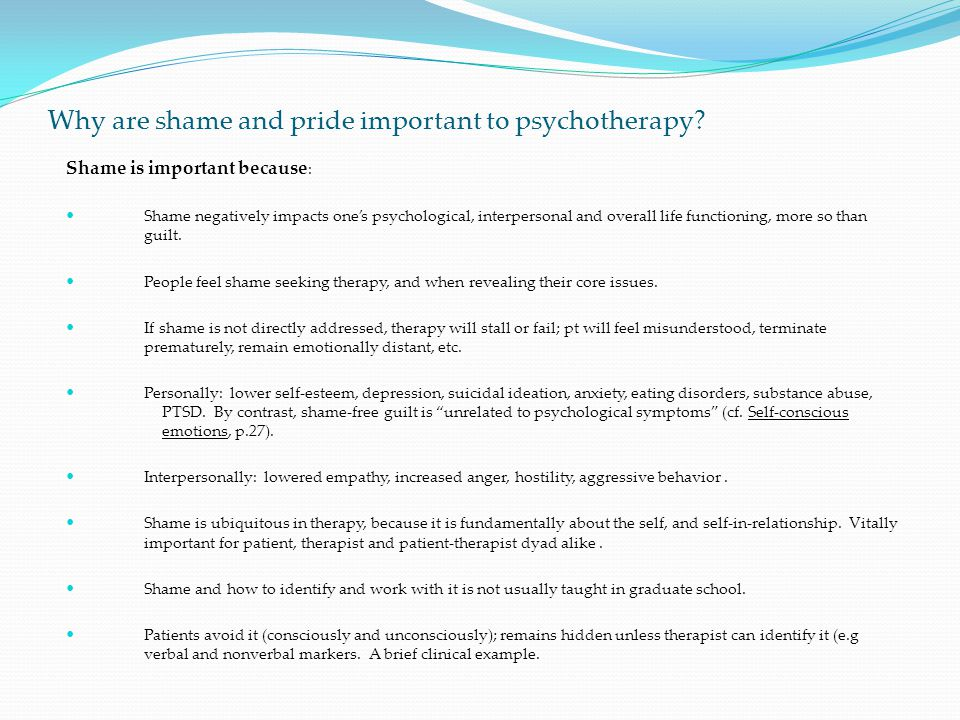 Why are shame and pride important to psychotherapy