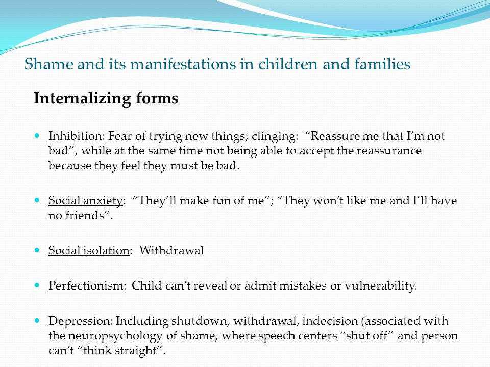 Shame and its manifestations in children and families