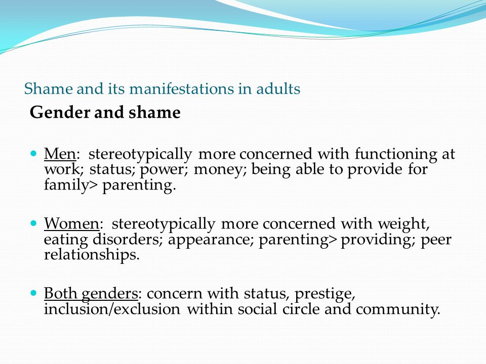 Shame and its manifestations in adults