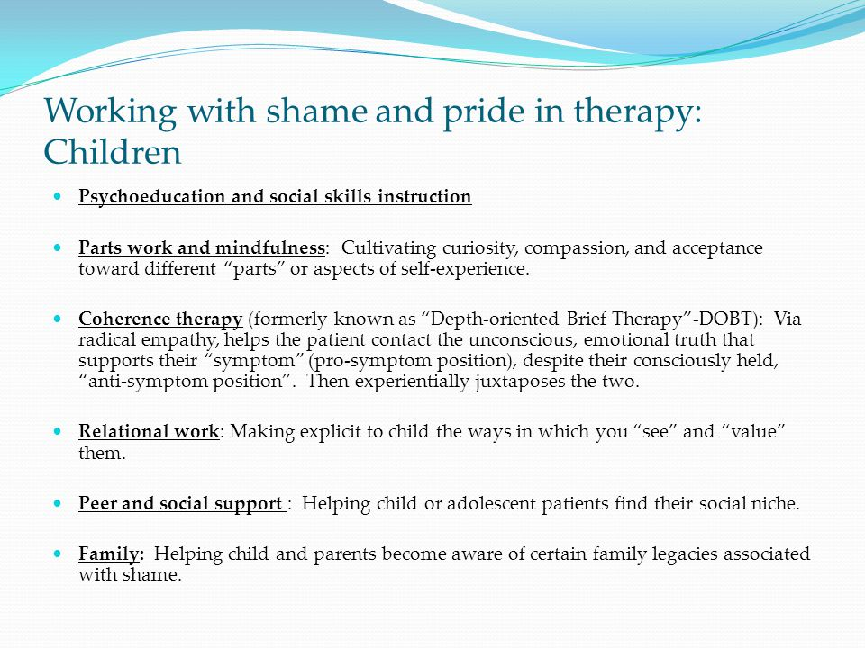 Working with shame and pride in therapy: Children