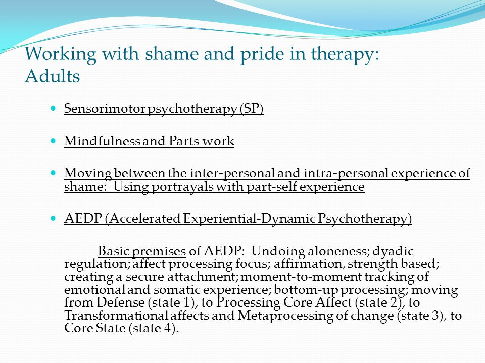 Working with shame and pride in therapy: Adults