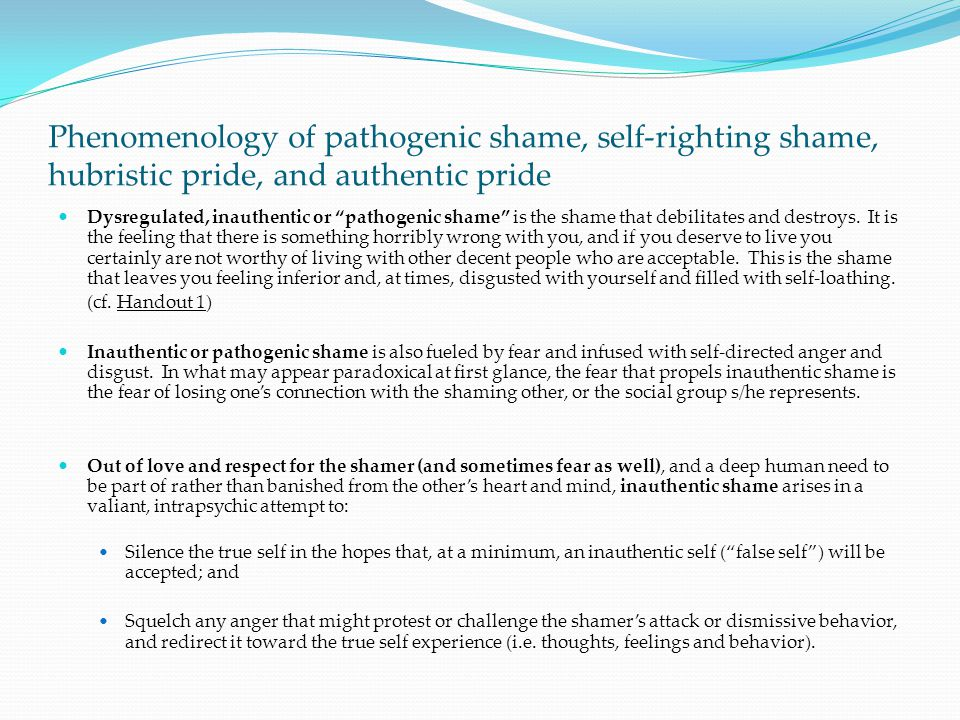 Phenomenology of pathogenic shame, self-righting shame, hubristic pride, and authentic pride