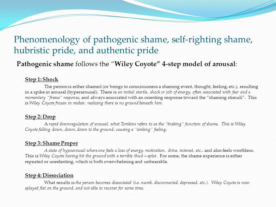 Phenomenology of pathogenic shame, self-righting shame, hubristic pride, and authentic pride