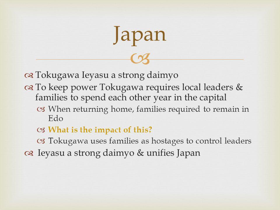 Japan Tokugawa Ieyasu a strong daimyo