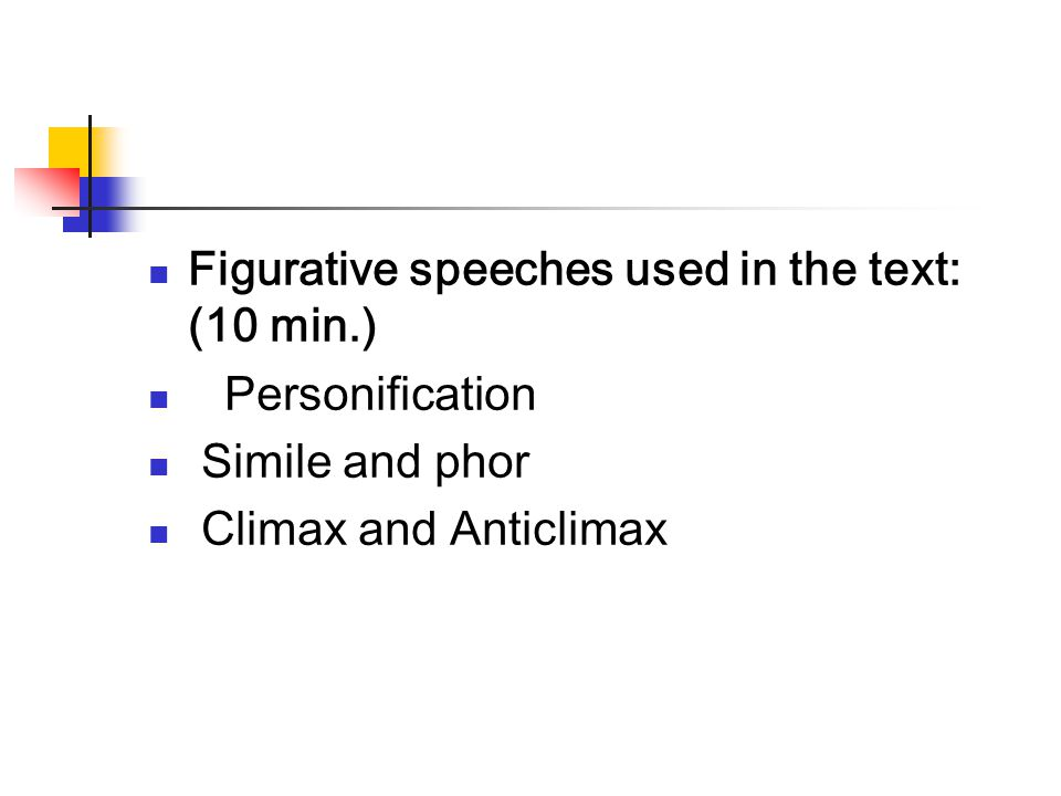 Figurative speeches used in the text: (10 min.)