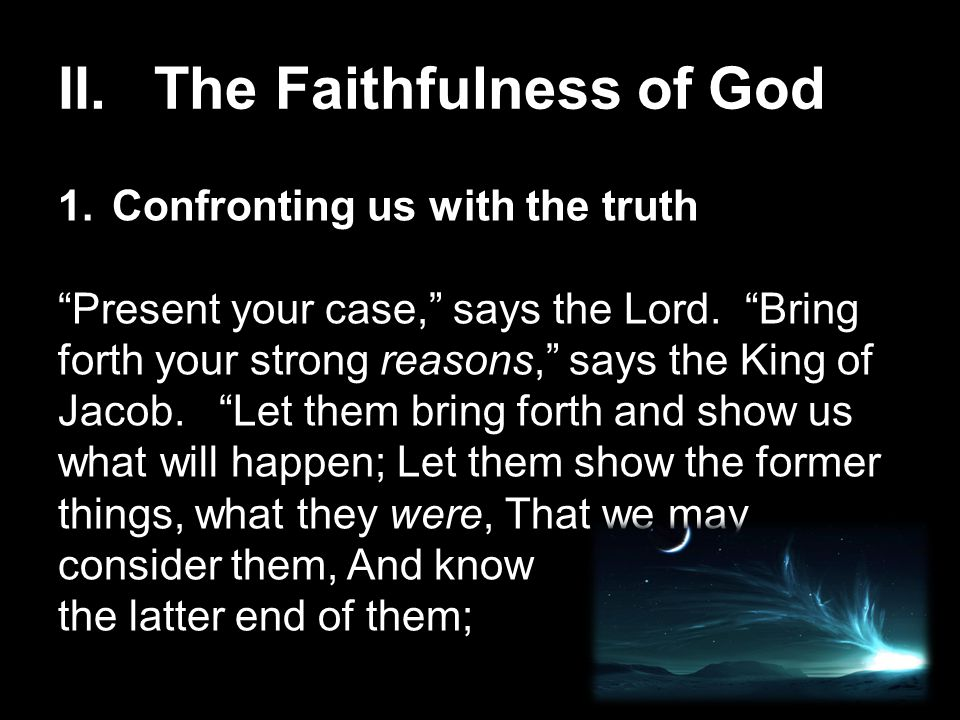 II. The Faithfulness of God