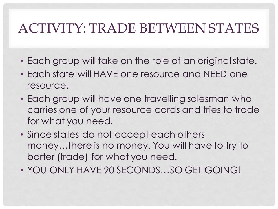 Activity: Trade Between States