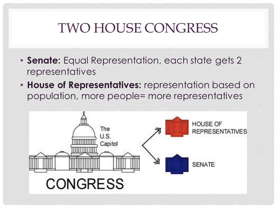 Two House Congress Senate: Equal Representation, each state gets 2 representatives.