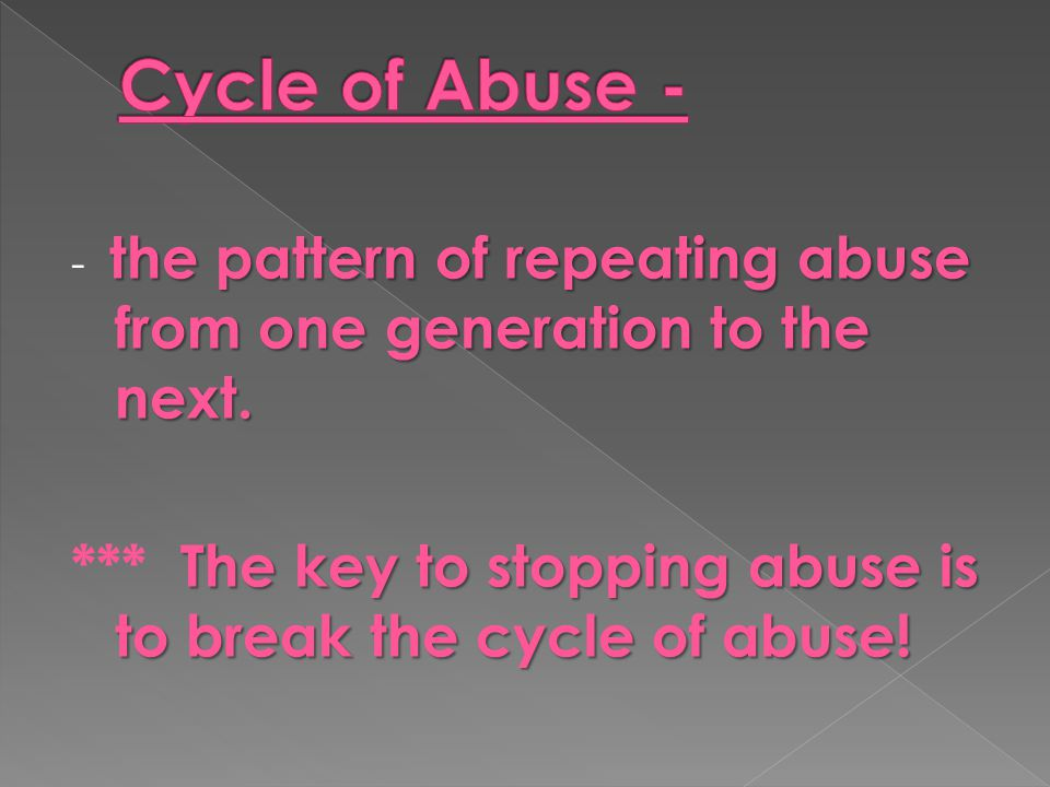Cycle of Abuse - - the pattern of repeating abuse from one generation to the next.