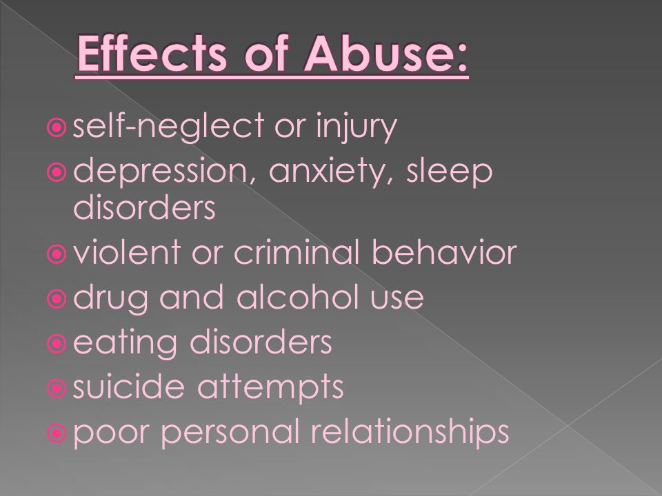 Effects of Abuse: self-neglect or injury