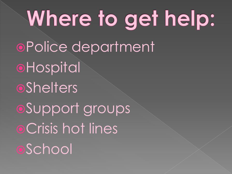 Where to get help: Police department Hospital Shelters Support groups