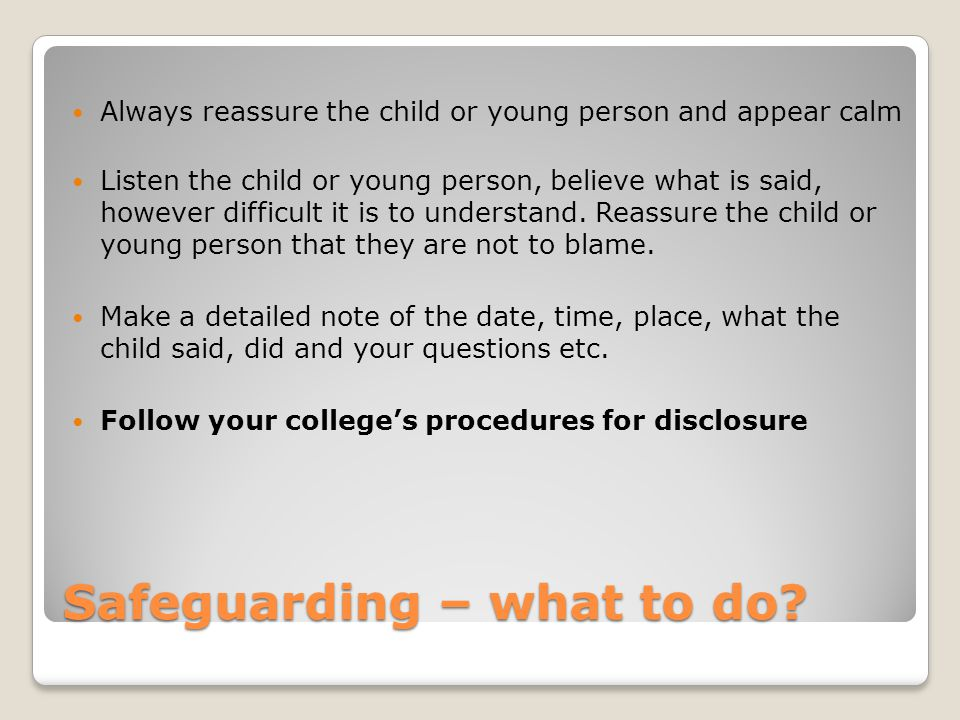 Safeguarding – what to do
